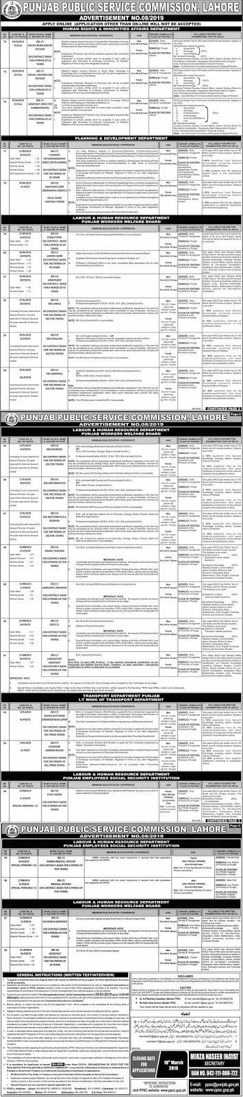 PPSC Jobs, PPSC Advertisement no 08, ppsc latest jobs march 2019