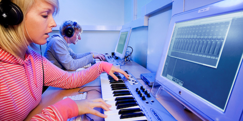 Students learn about song creation & recording with music technology software.