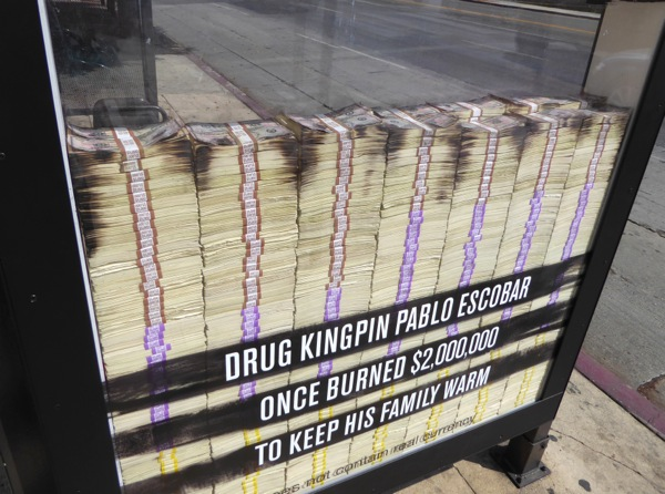 Narcos 2 bus shelter ad installation money