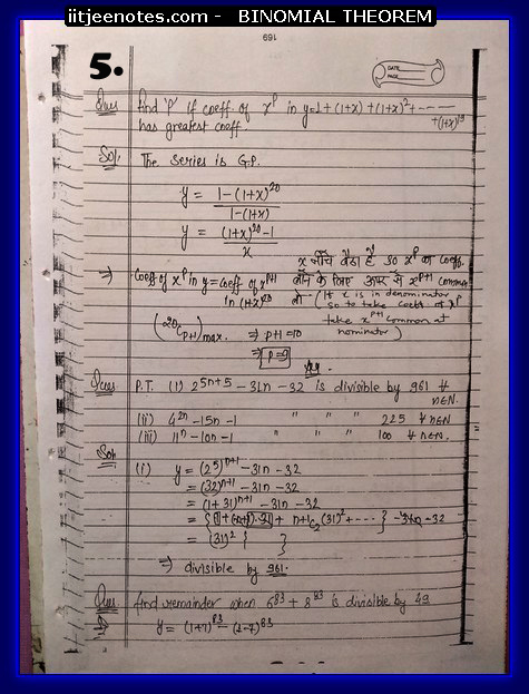 IITJEE Notes on Bimomial Theorem 5