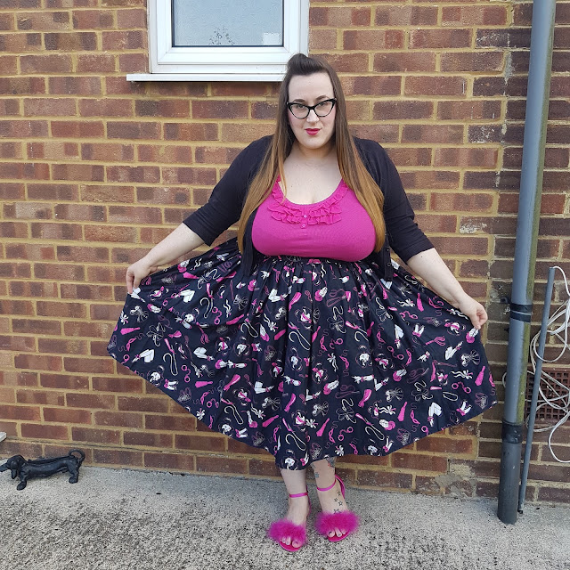Vixen plus size 4x swing skirt in frisky fetish print review