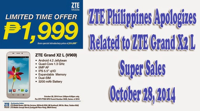 ZTE Philippines Apologized Related to ZTE Grand X2 L Super Sales