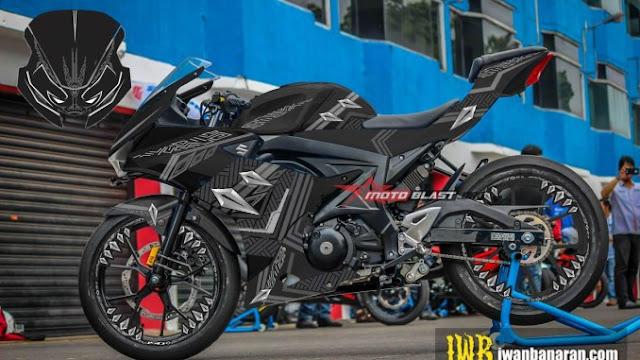 Modifikasi Suzuki GSX-R150 Black Panther