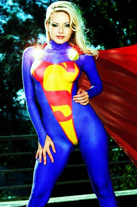 There similar Sexy supergirl body paint seems