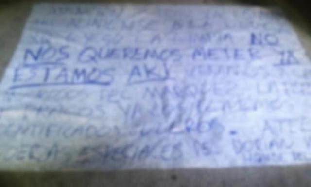"""Dejan narcomanta amenazando """"Llegada y limpia"""" De """"Las Fuerzas Especiales"""" de """"El Dorian"""""""