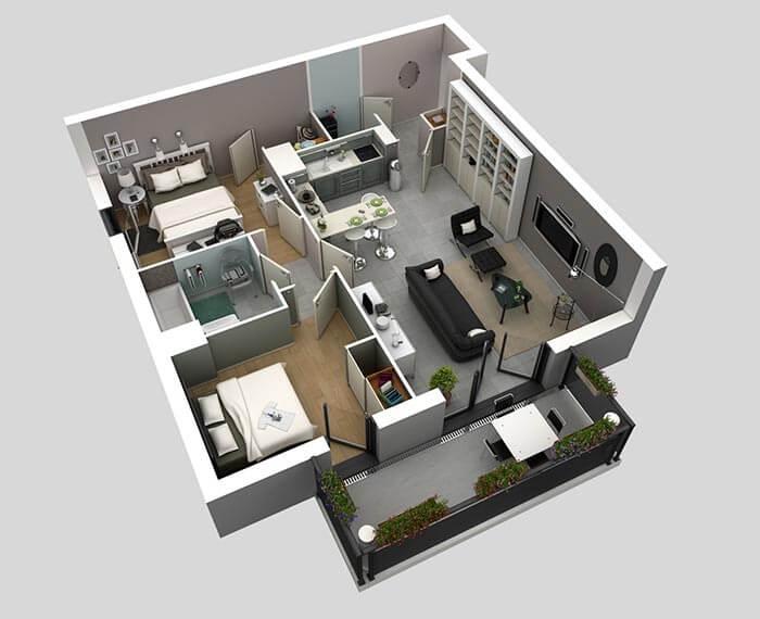 2 oda 1 salon ev planı