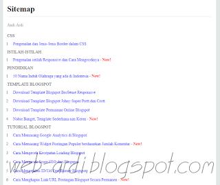 Cara membuat sitemap di blogger berdasarkan label