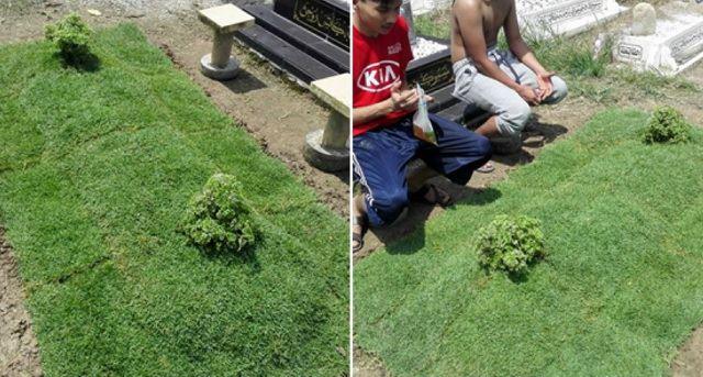 Buatkan Pusara Kuburan Sang Ayah Dari Hamparan Rumput, Kisah Pemuda Ini Bikin Haru