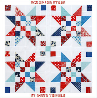 Scrap Jar Stars quilt block tutorial