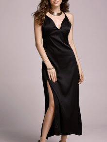 ZAFUL - black slip dress꘡wishlist.