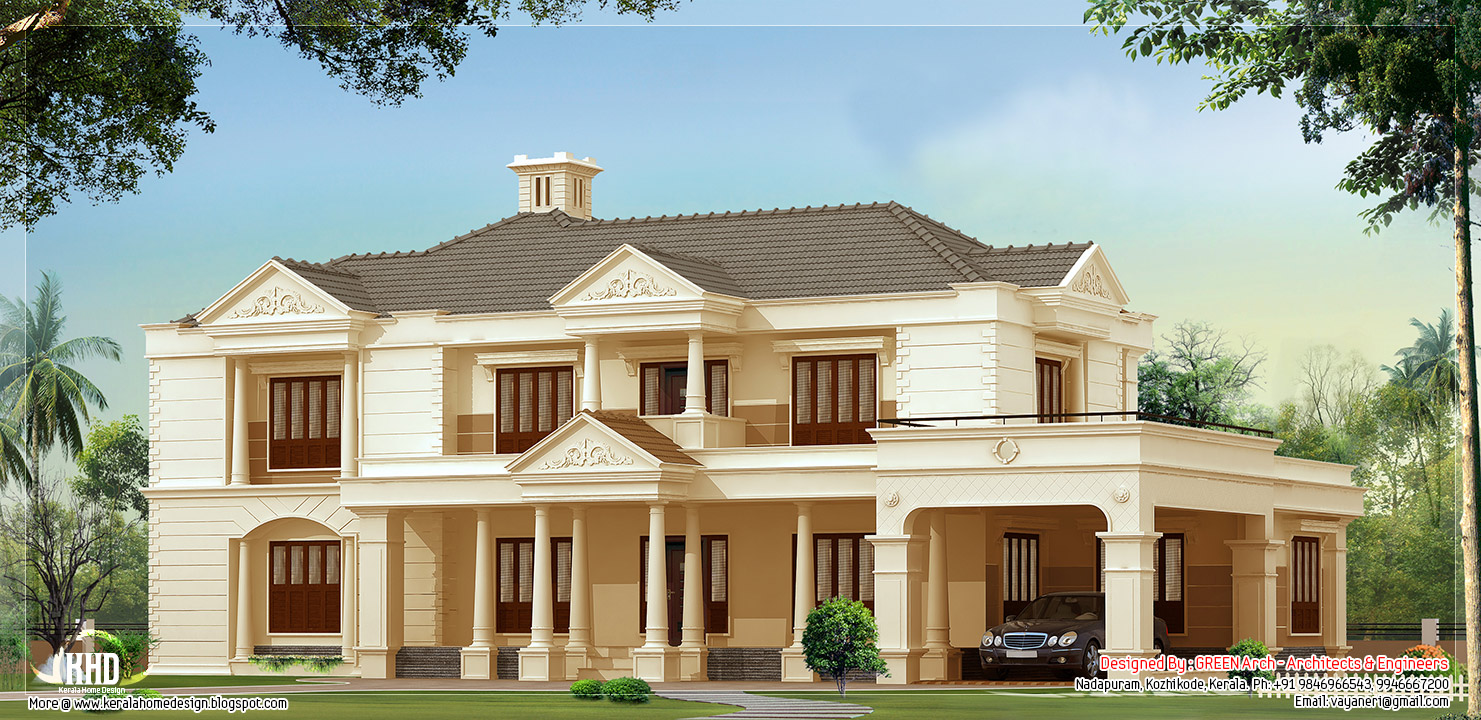 4 bedroom luxury house design kerala home design and for Luxury home architect