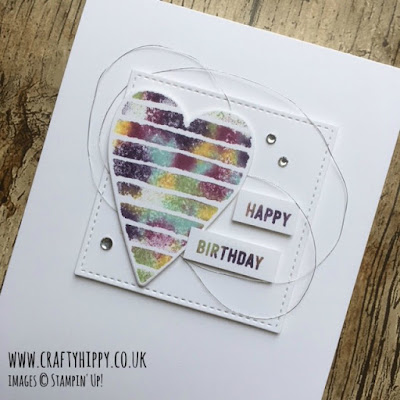 How to use the Heart Happiness stamp set by Stampin' Up! to create a multicoloured heart tie-dye card.