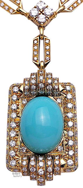 Brilliant Luxury♦Vintage 18Kt Gold, 9.42ct. Diamond Necklace with a 21.02ct Persian Turquoise