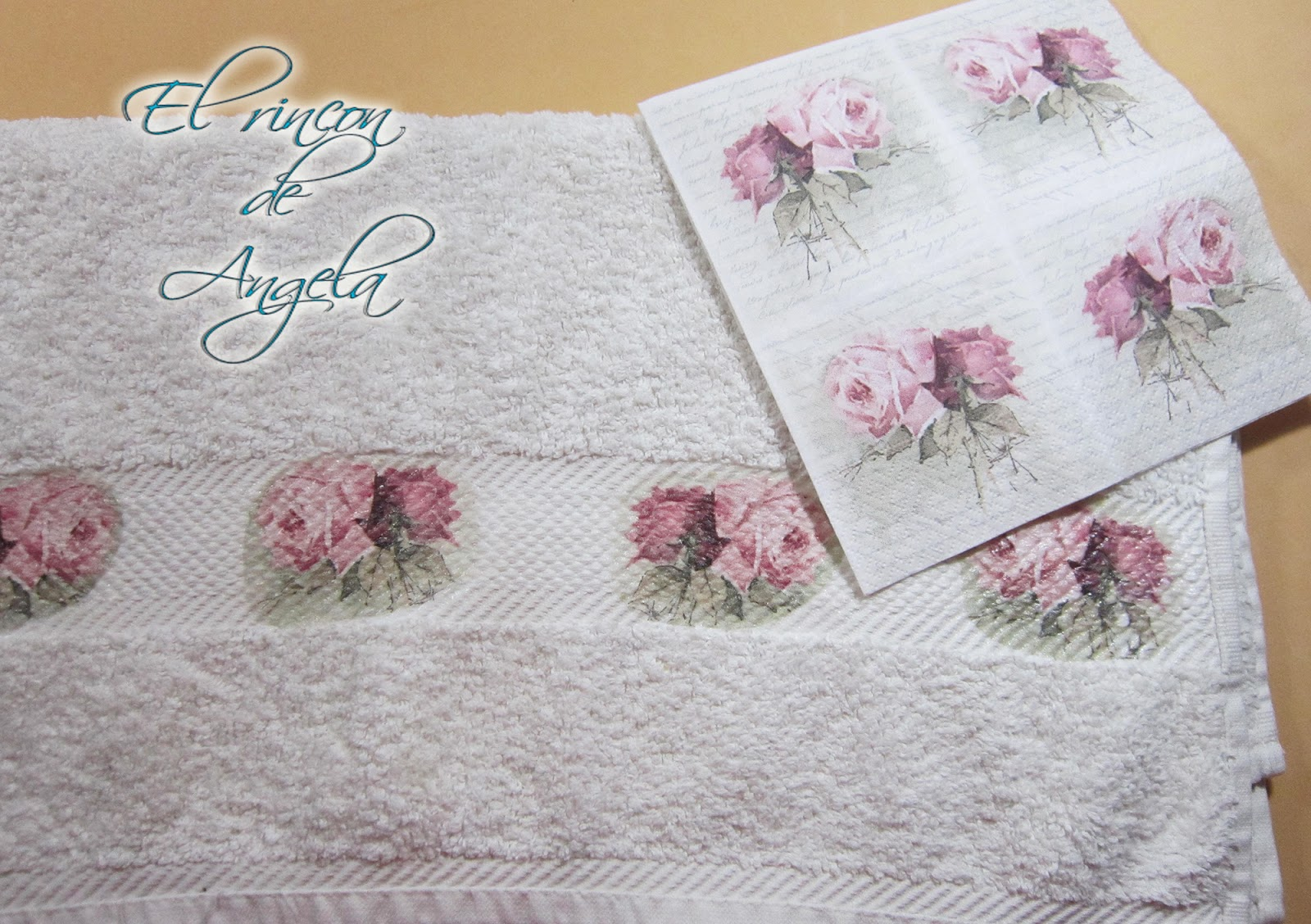 El rincon de angela decoupage sobre una toalla con - Como hacer manualidades de tela ...
