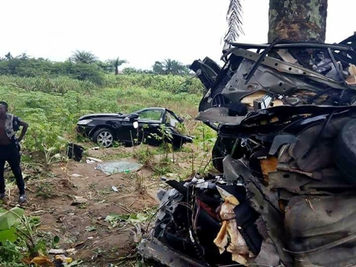PHOTOS: Nigerian Man Comes Out Alive As Car Splits Into Two In Tragic Accident