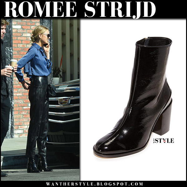 Romee Strijd in black patent leather ankle boots dear frances and leather pants model off duty style november 6 2017