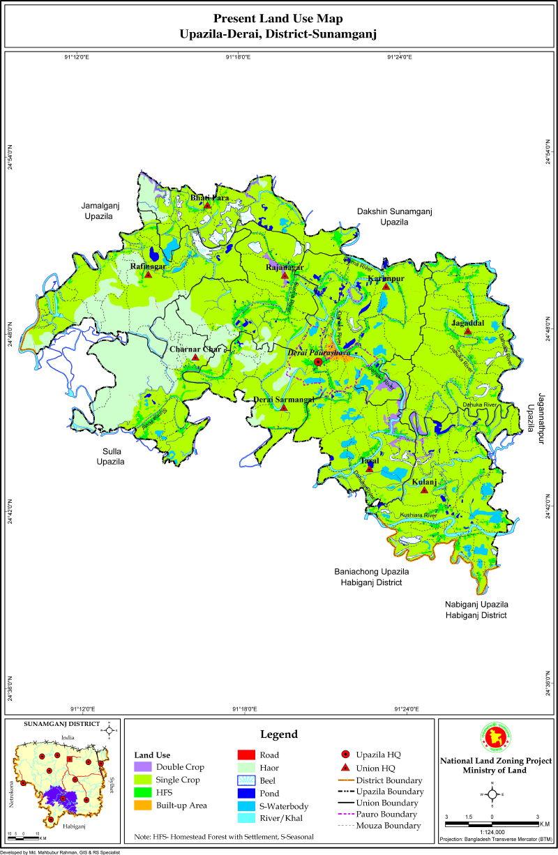 Derai Upazila Mouza Map Sunamganj District Bangladesh