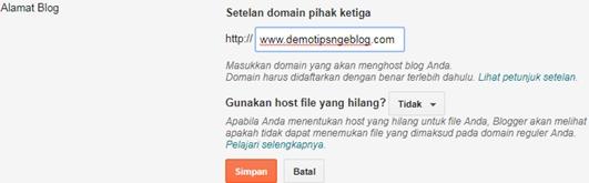 Cara mengganti alamat blogspot dengan domain pihak ketiga