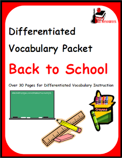 Free, differentiated, back to school vocabulary packet for your ell students. Start the year off right with this printable resource from Raki's Rad Resources.