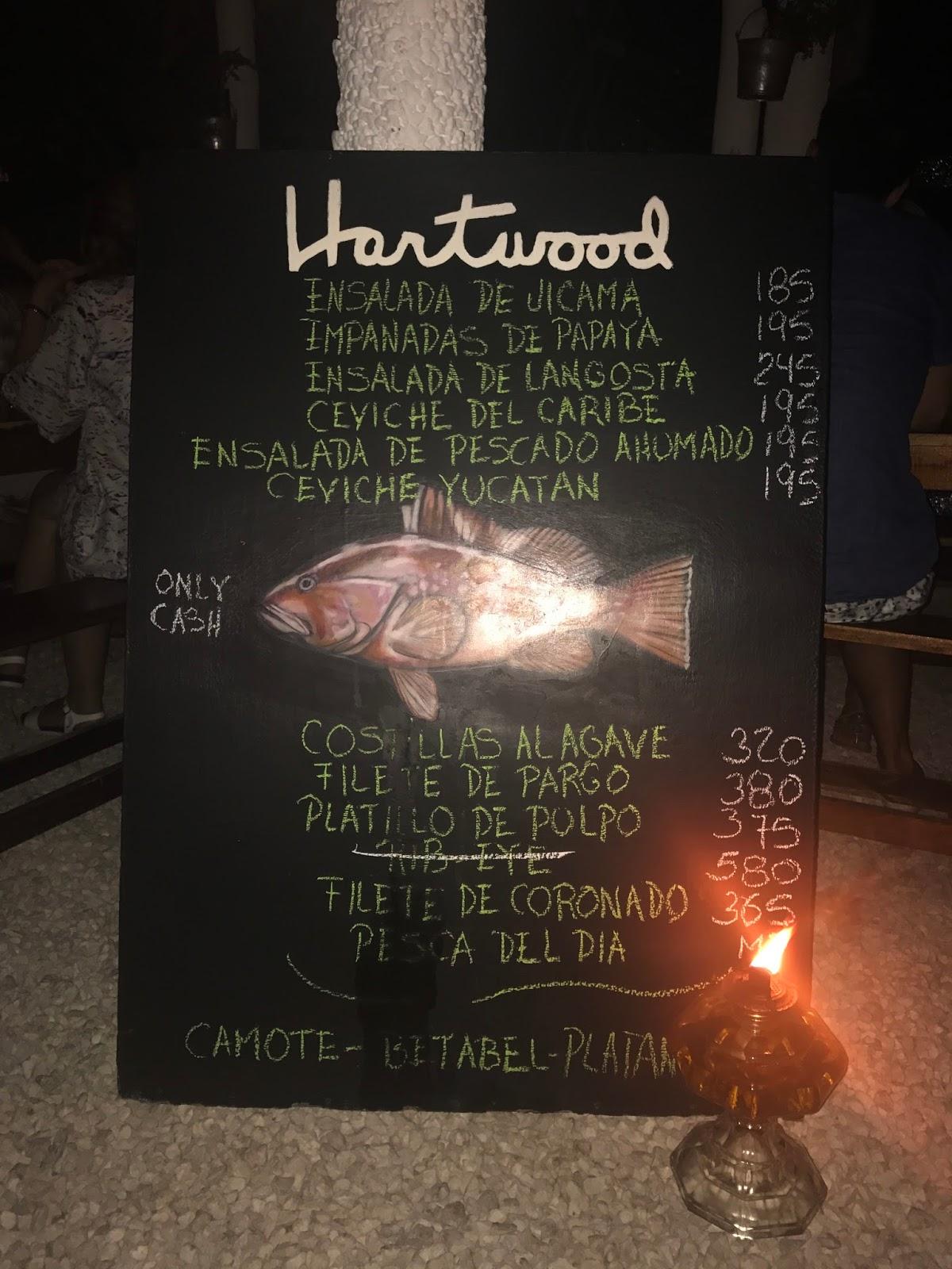 Stitch & Bear - Hartwood - Blackboard menu at Hartwood