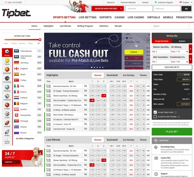 Tipbet Sportsbook Screenshot