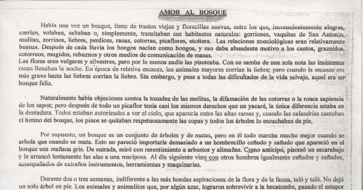 Estudiantes De Sextos A Y B De La Escuela 168 Rumania 18 Mario Benedetti Amor Al Bosque Cuento Corto Lectura