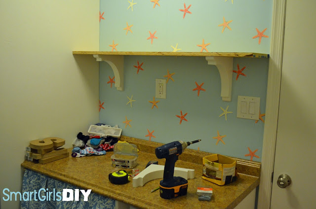 Adding wall shelves with corbels