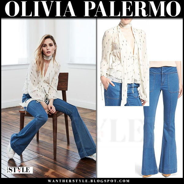 Olivia Palermo in ivory tie neck silk blouse chelsea28, flare jeans and white sneakers chelsea28 fall collection what she wore