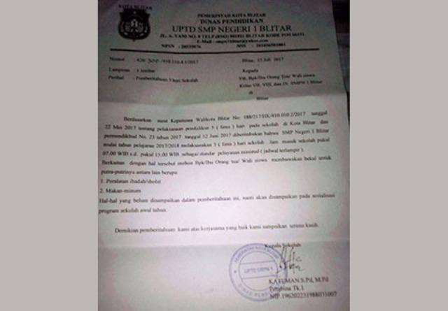 Surat Penerapan FDS SMPN 1 Blitar Ini Bantah Pernyataan Jokowi dan Muhadjir
