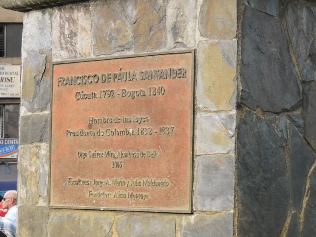 en memoria de Francisco de Paula Santander