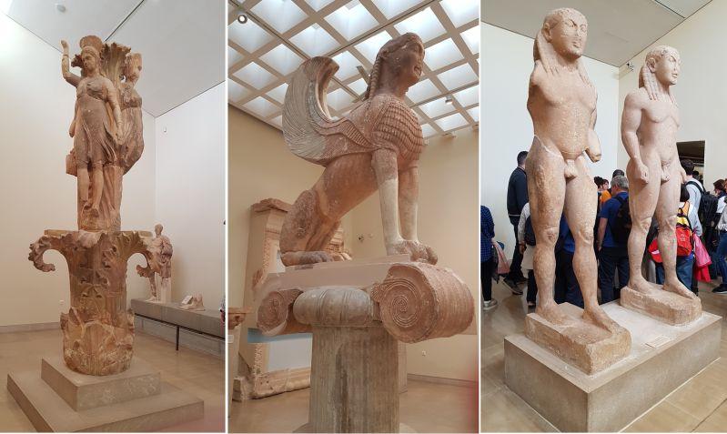 Diverse Exponate im Museum Delphi aus dem Apollontempel Griechenland