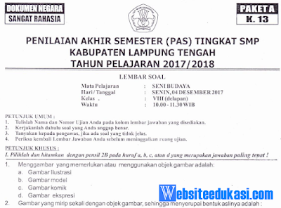 Naskah Soal PAS/ UAS Seni Budaya Kelas 8 K13 Tahun 2018/2019