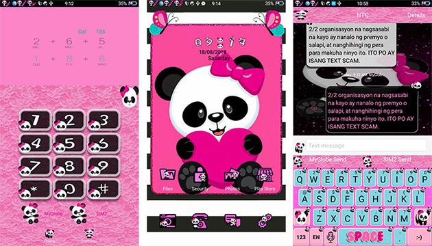 Oppo Theme: Oppo Cute Panda Bow Theme