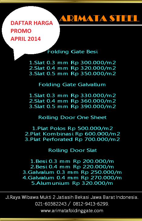 harga pasang folding gate murah
