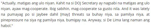 Magdalo Representative Sides With De Lima; Claims Inmates Were Forced To Testify: 'Kontrolado Na Sila Ng Kanilang Mga Guwardiya o Ng DOJ.'