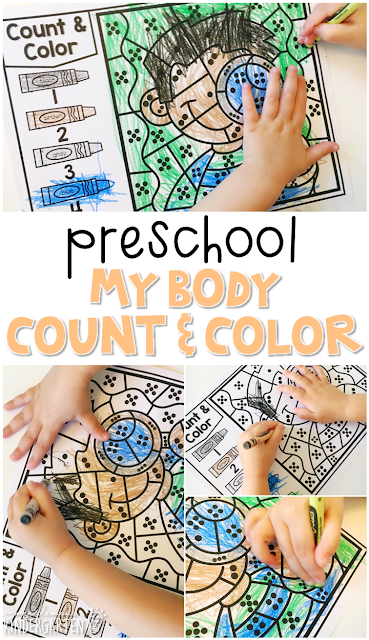 This body count & color activity is perfect for number sense and fine motor practice with a human body theme. Great for tot school, preschool, or even kindergarten!