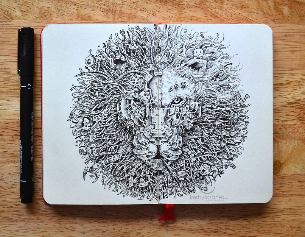 19-The-Kings-Awakening-Kerby-Rosanes-Detailed-Moleskine-Doodles-Illustrations-and-Drawings-www-designstack-co