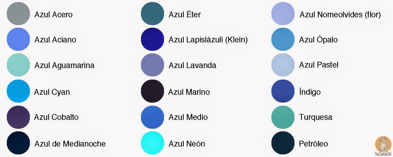 azul On tipos de color azul