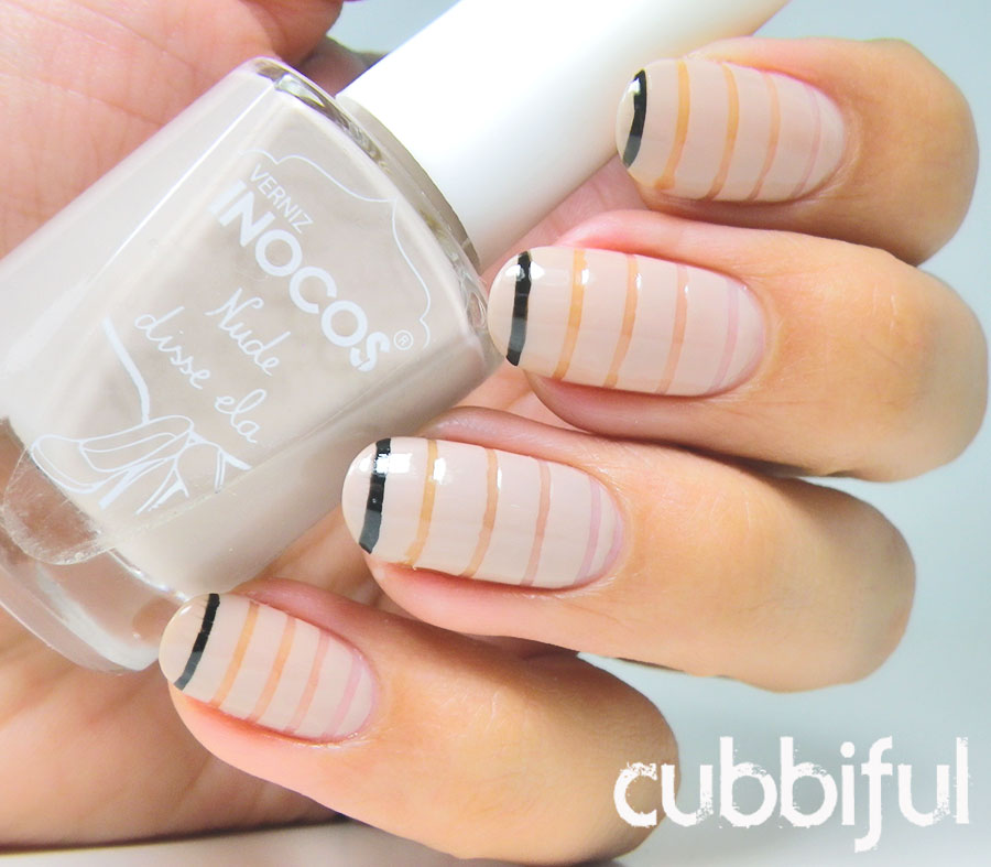negative space striped nude nails
