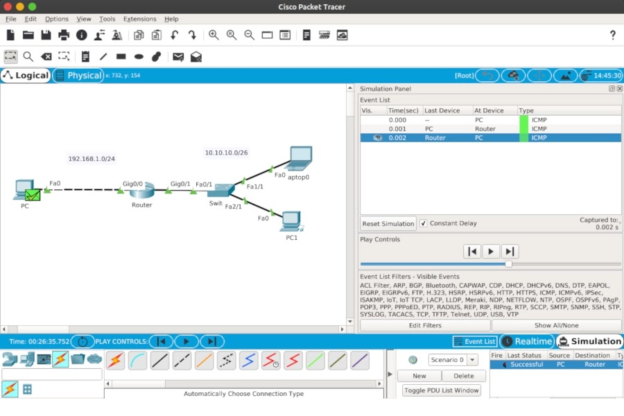Simulation Mode Cisco Packet Tracer