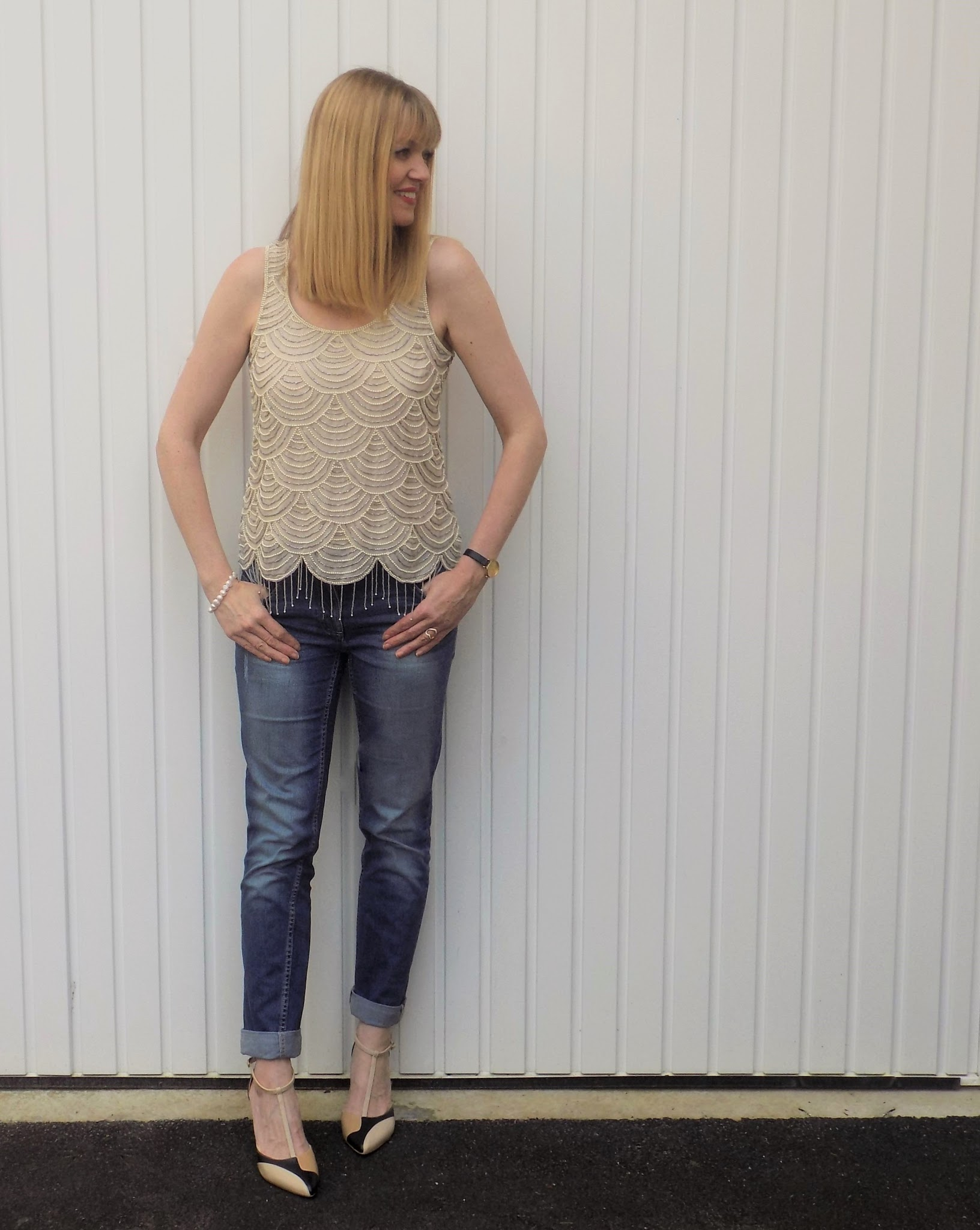 Beaded Gatsby style top with boyfit jeans and Kaleidoscope colourblock shoes