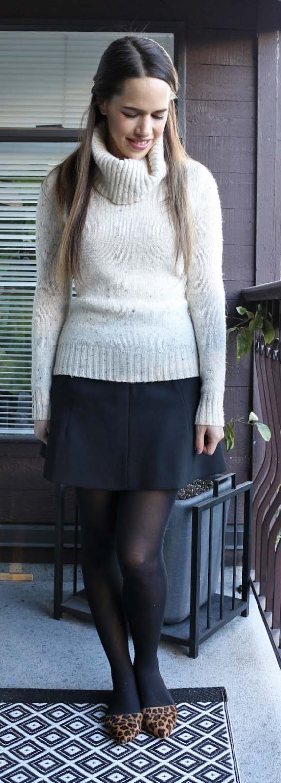 Jules in Flats - Cream Turtleneck Sweater, Black J.Crew Skater Skirt