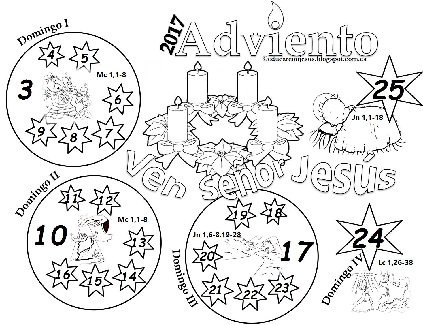 calendarios de adviento 2017 para colorear e imprimir para nios fuente educarconjesus