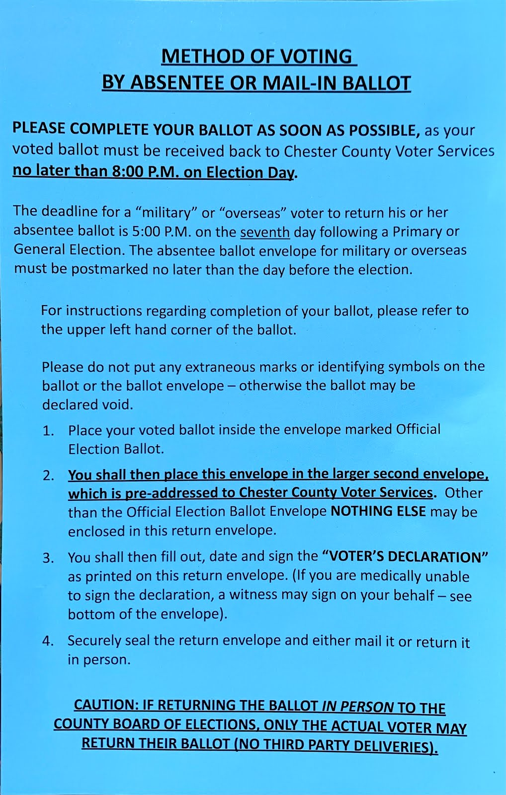 Method of Voting By Absentee or Mail-In Ballot