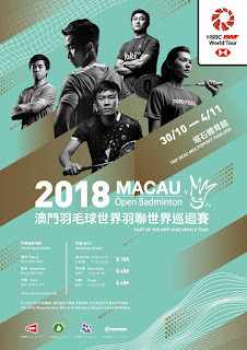 Jadwal Lengkap Macau Open 2018