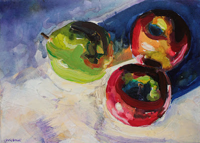 An acrylic painting of fruit.