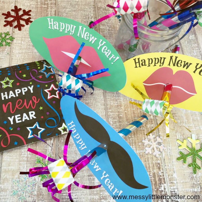 New Years Eve with kids? Make some fun party blowers. Easy New Years crafts for kids