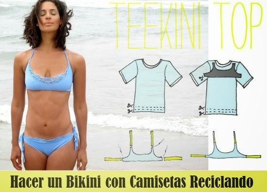 hacer un bikini con camisetas viejas