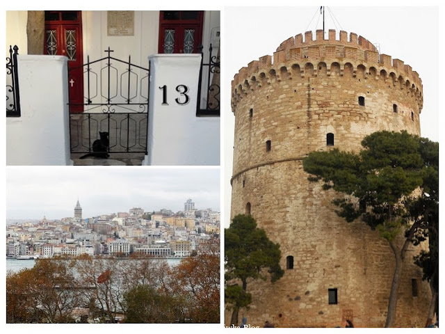 Czarny pechowy kot za furtką cerkwii.Wysoka wieża obok której rosną zielone drzewa cedrowe. Widok na Konstantynopol.