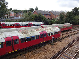 Old London Underground tube train in the sidings at Ryde St John's Road station on the Isle of Wight
